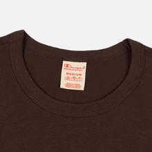 Мужская футболка Champion Reverse Weave Crew Neck Back Script Logo Brown фото- 1