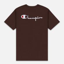 Мужская футболка Champion Reverse Weave Crew Neck Back Script Logo Brown фото- 4
