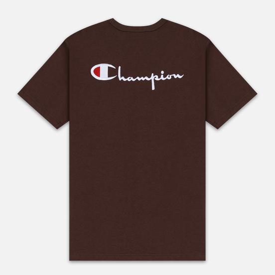 Мужская футболка Champion Reverse Weave Crew Neck Back Script Logo Brown
