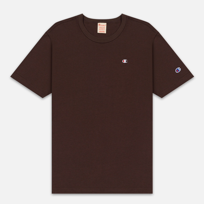 Мужская футболка Champion Reverse Weave Crew Neck Back Script Logo Brown