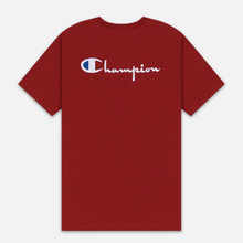 Мужская футболка Champion Reverse Weave Crew Neck Back Script Logo Dark Red фото- 4