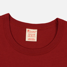 Мужская футболка Champion Reverse Weave Crew Neck Back Script Logo Dark Red фото- 2