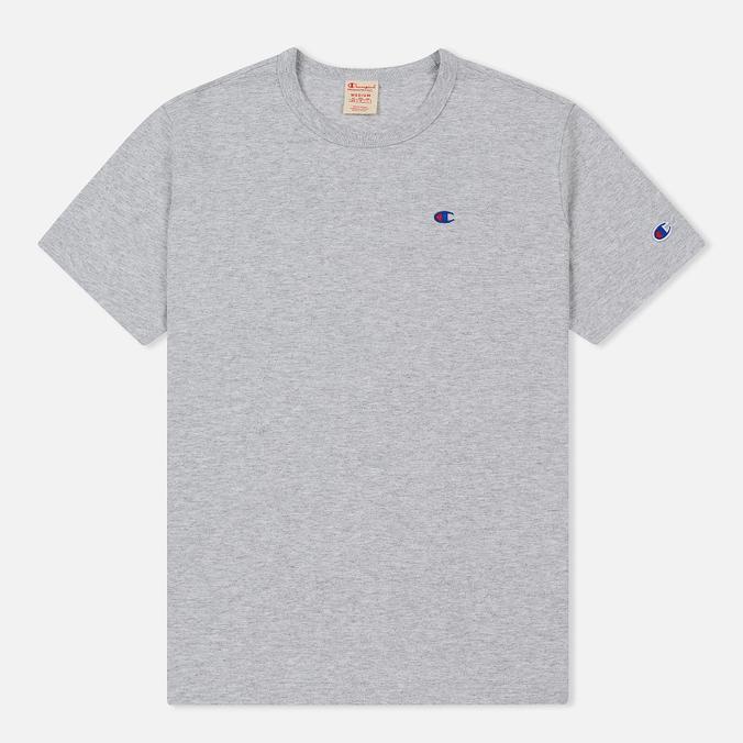 6afef25453830 Мужская футболка Champion Reverse Weave Crew Neck Back Script Logo Light  Grey ...