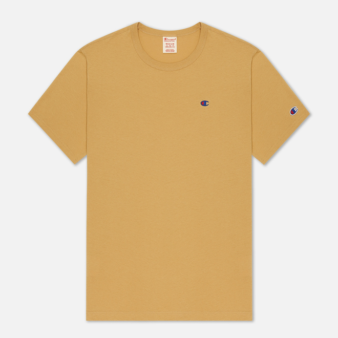 Мужская футболка Champion Reverse Weave Logo Chest & Sleeve Crew Neck Camel