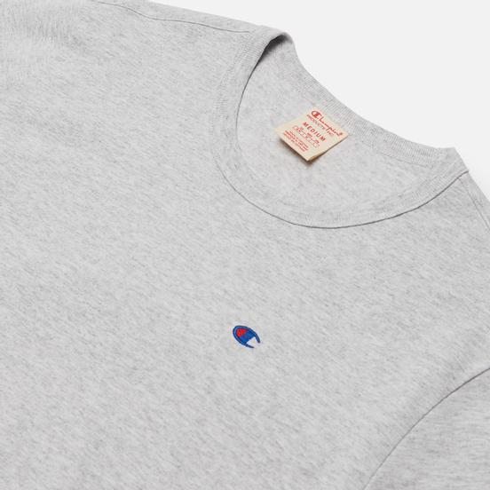 Мужская футболка Champion Reverse Weave Logo Chest & Sleeve Crew Neck Light Grey