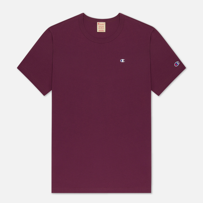 Мужская футболка Champion Reverse Weave Logo Chest & Sleeve Crew Neck Maroon