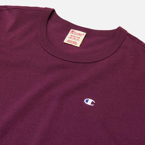 Мужская футболка Champion Reverse Weave Logo Chest & Sleeve Crew Neck Maroon
