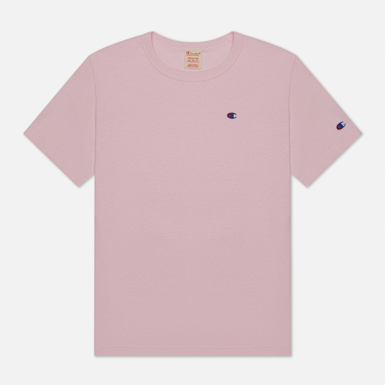 Мужская футболка Champion Reverse Weave Logo Chest & Sleeve Crew Neck Pink