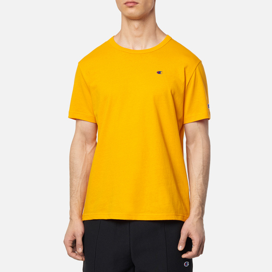 Мужская футболка Champion Reverse Weave Logo Chest & Sleeve Crew Neck Zinc Yellow