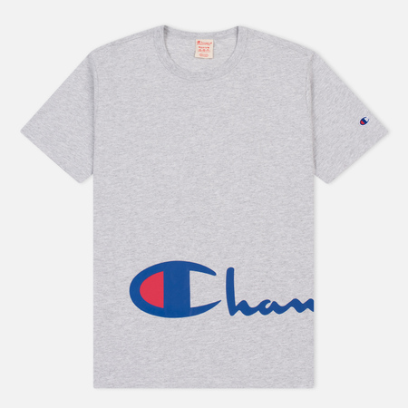 Мужская футболка Champion Reverse Weave Logo Print Crew Neck Light Grey
