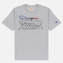 Мужская футболка Champion Reverse Weave Archive Centenary Print Crew Neck Light Grey фото- 0