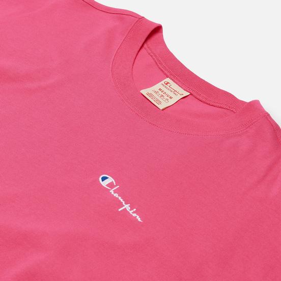 Мужская футболка Champion Reverse Weave Small Script Logo Muscle Fit Bright Pink