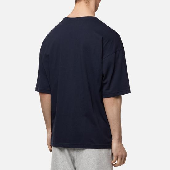 Мужская футболка Champion Reverse Weave Small Script Logo Muscle Fit Dark Blue