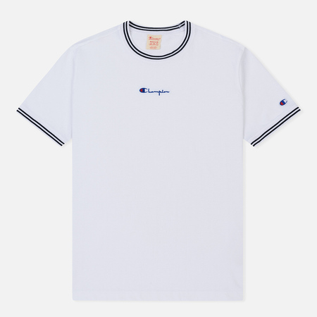 Мужская футболка Champion Reverse Weave Striped Ringer Small Script Logo White