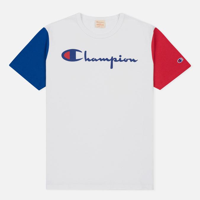 Мужская футболка Champion Reverse Weave Triple Color White/Blue/Red