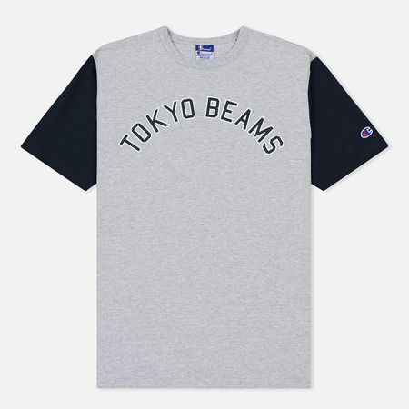 Мужская футболка Champion Reverse Weave x Beams Contrast Panel Grey