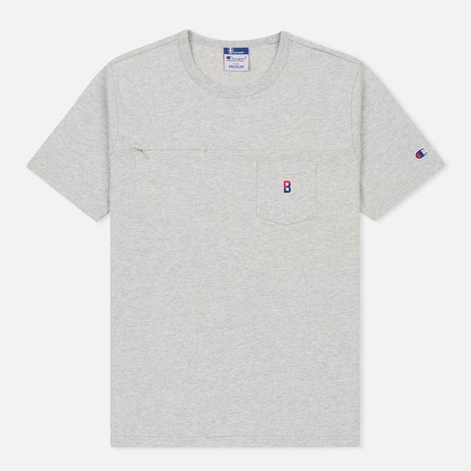 Мужская футболка Champion Reverse Weave x Beams Pocket Heather Grey
