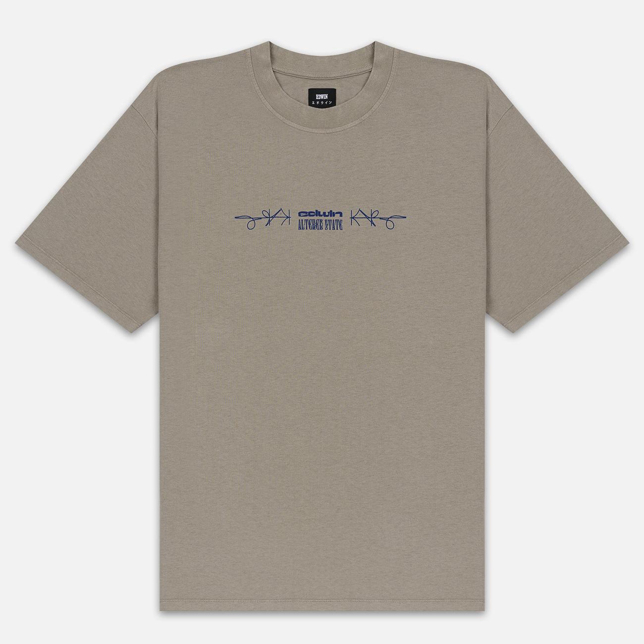 Мужская футболка Edwin Hazy Dreams III Garment Dyed Faded Out Moon Rock