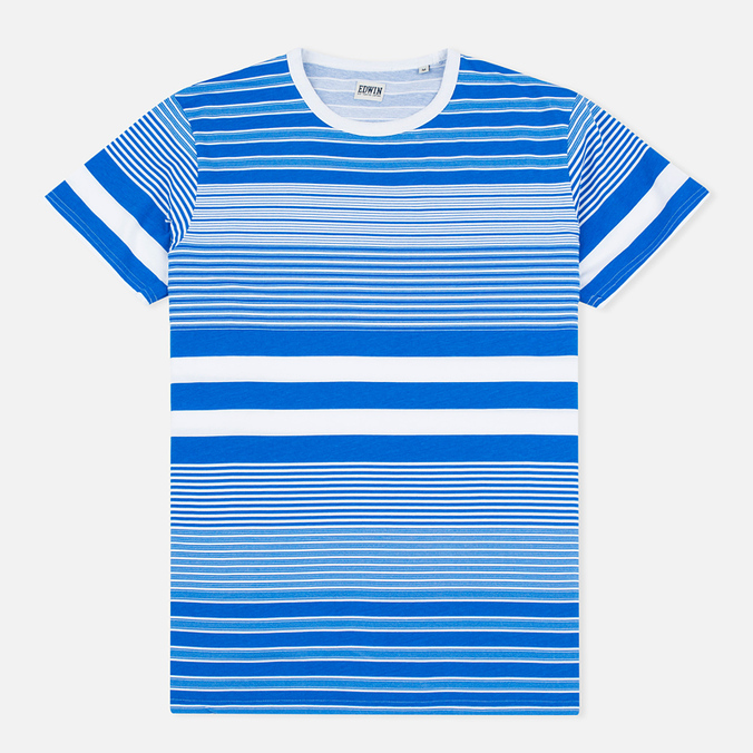 Мужская футболка Edwin Mixed Stripes Jersey Royal Blue