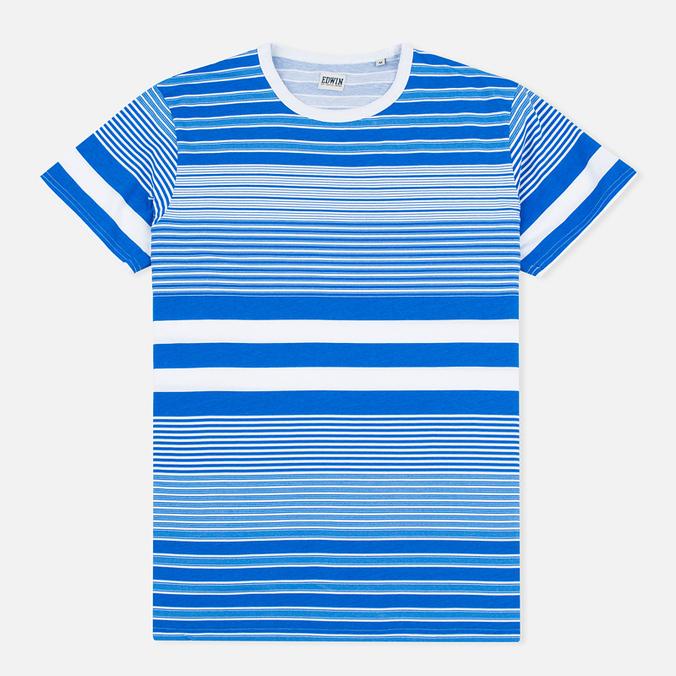 Мужская футболка Edwin Mixed Stripes Jersey Royal Blue