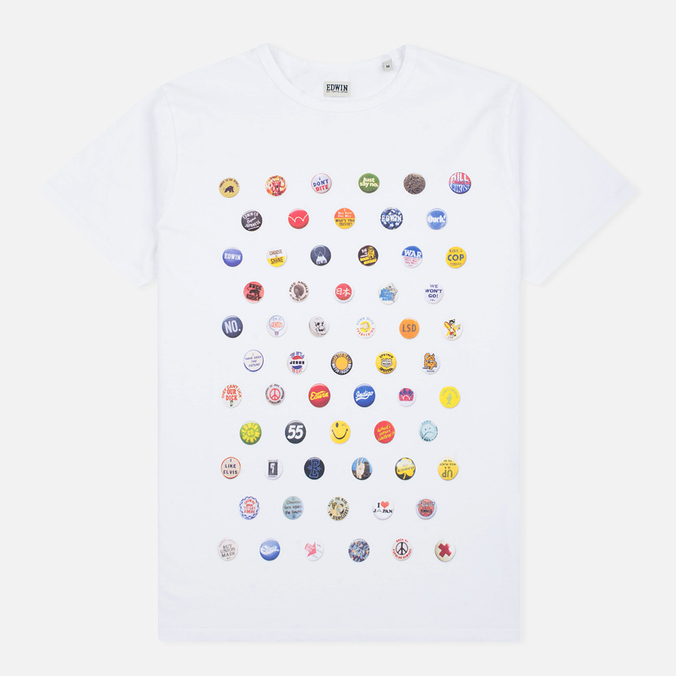 Edwin Pin Polka Men's T-shirt White