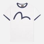 Мужская футболка Evisu Blue Seagull Slogan White фото- 0