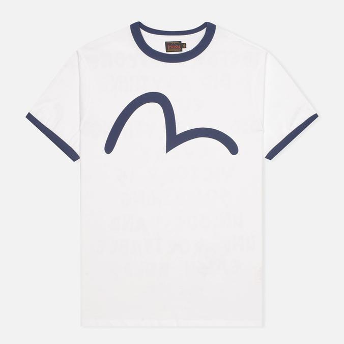Мужская футболка Evisu Blue Seagull Slogan White