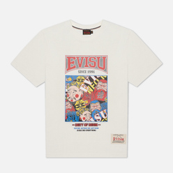 Мужская футболка Evisu Evergreen Godhead Tiger Graphic Printed Off White