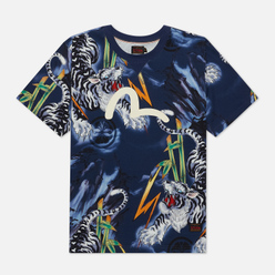 Мужская футболка Evisu Evergreen Tiger Landscape All Over Printed Dark Navy