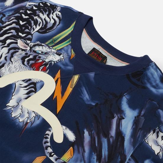 Мужская футболка Evisu Evergreen Tiger Landscape All Over Printed Dark Navy