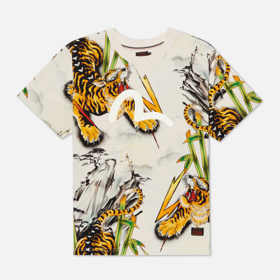 Мужская футболка Evisu Evergreen Tiger Landscape All Over Printed Ecru