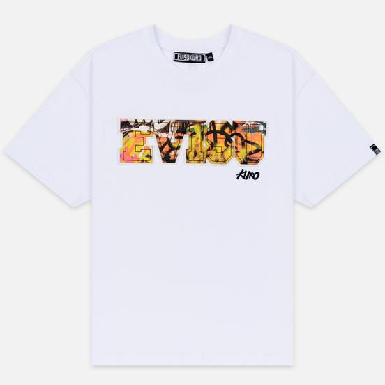 Мужская футболка Evisu Evisu Multicolor Graffiti Patchwork Bright White