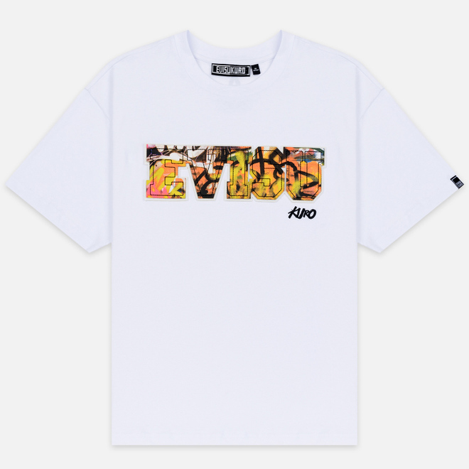 Мужская футболка Evisu Evisu Multicolor Graffiti Patchwork Bright White