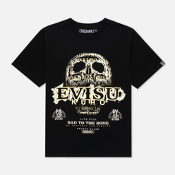 Мужская футболка Evisu Evisukuro Calligraphy & Hannya Garment Wash Black