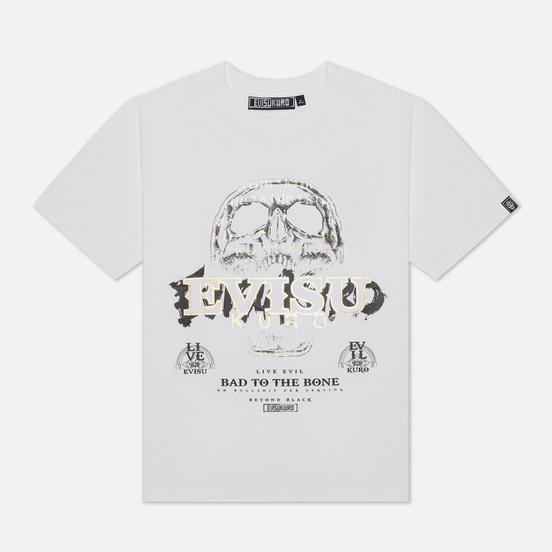 Мужская футболка Evisu Evisukuro Calligraphy & Hannya Garment Wash White