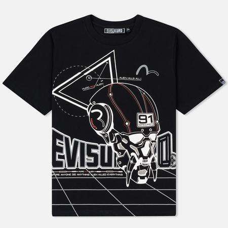 Мужская футболка Evisu Evisukuro Perspective Alien Hannya Black
