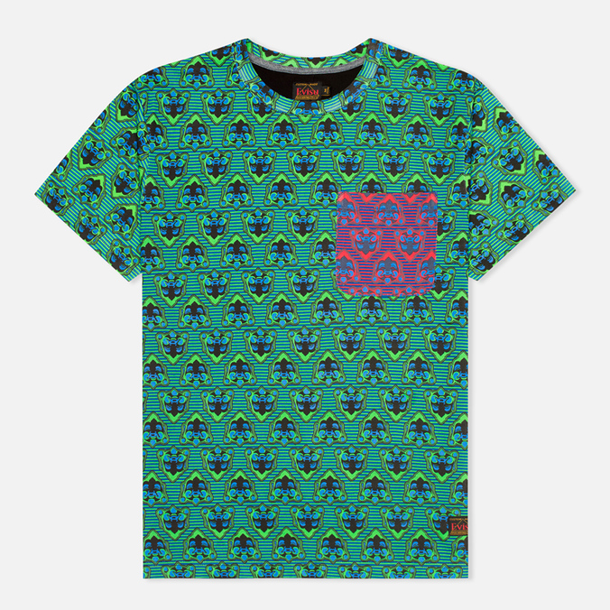 Мужская футболка Evisu Godhead Allover Print Green