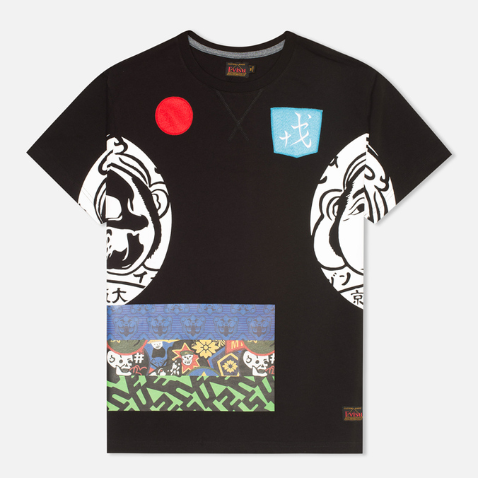 Evisu Godhead Side Print Men's T-Shirt Black