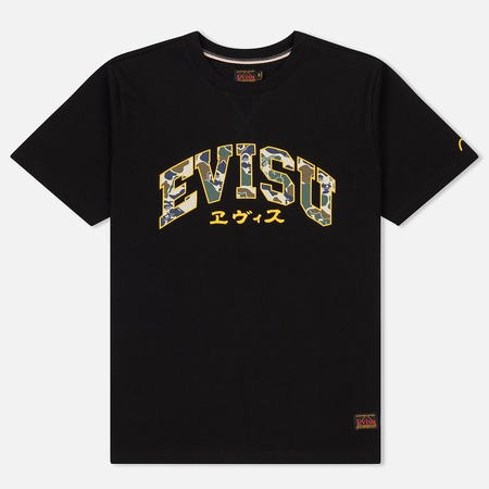 Мужская футболка Evisu Heritage Camo Evisu Branding Chest Print Black