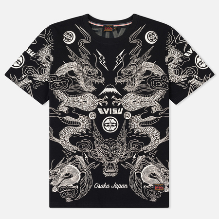 Мужская футболка Evisu Heritage Dragon All Over Graphic Printed Black