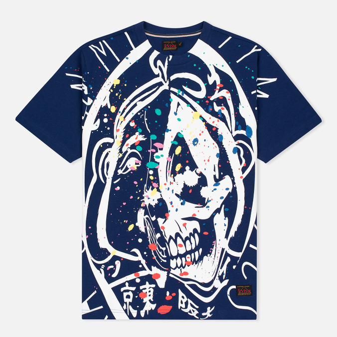 Мужская футболка Evisu Splatter Godhead Blue