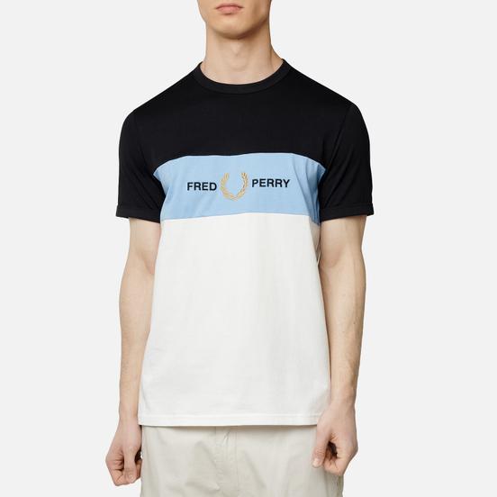 Мужская футболка Fred Perry Embroidered Panel Snow White/Blue/Black