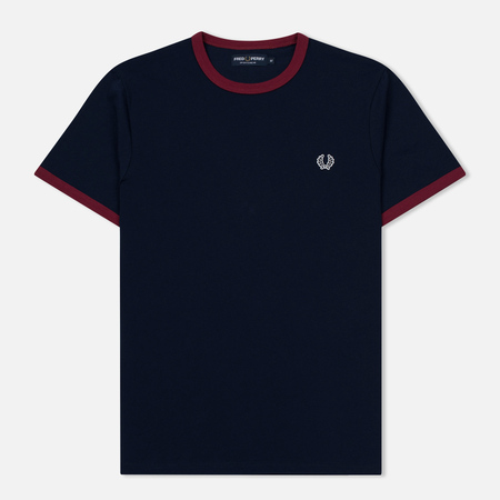 Fred Perry Мужская футболка Ringer Carbon Blue/Red