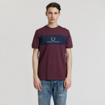 Мужская футболка Fred Perry Sports Authentic Panel Embroidered Mahogany фото- 1