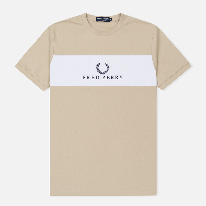 Мужская футболка Fred Perry Sports Authentic Panel Embroidered Stone