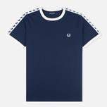 Мужская футболка Fred Perry Taped Ringer Carbon Blue фото- 0