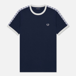 Мужская футболка Fred Perry Taped Ringer Carbon Blue/White