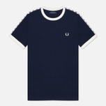 Мужская футболка Fred Perry Taped Ringer Carbon Blue/White фото- 0