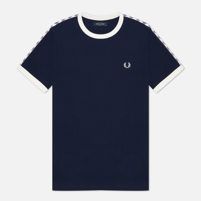 Мужская футболка Fred Perry Taped Ringer Carbon Blue/White