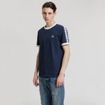 Мужская футболка Fred Perry Taped Ringer Carbon Blue/White фото- 1